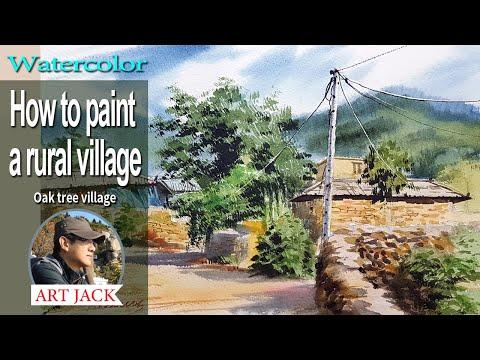 Watercolor   How to paint a rural village   Oak tree village   Easy tutorial [ART JACK]