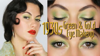 1930s Green And Gold Shimmery Eye Makeup⎢VINTAGE TIPS & TRICKS