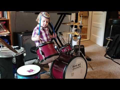 Little Drummer Emet jamming on drums April 2019 (3 years old)