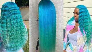 Blue Mermaid Hair Color 🐬💦💚 | Tinashe Hair |