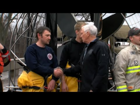 Vice President Mike Pence surveyed flooded areas in Nebraska Tuesday. He viewed the raging Elkhorn river, talked to first responders and visited a shelter for displaced people. He promised expedited action on presidential disaster declarations. (March 20)