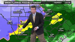 First Alert: Temperatures drop into 30s in Hill Country