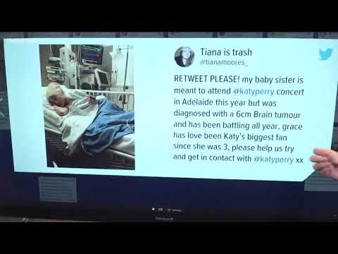 Katy Perry visits young fan who missed concert because of brain surgery