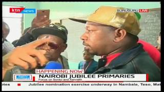 Aspirant Mike Mbuvi Sonko storms into a Buruburu polling station agitated over Jubilee's register