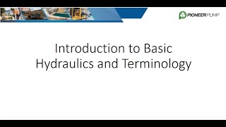 Basic Hydraulics and Terminology