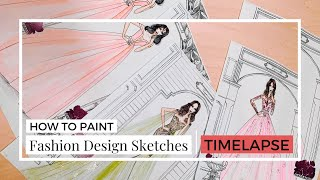 HOW TO PAINT - FASHION DESIGN SKETCHES ( BRIDAL DRESS ) | TIMELAPSE