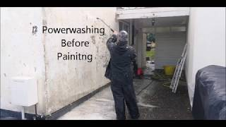How to Paint an Poor Quality Exterior Wall : Pressure Washing When Painting an Exterior Wall