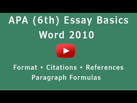 Formatting APA 6th Edition for Word 2010