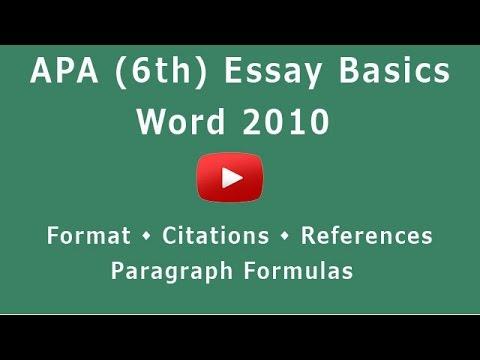 Formatting APA 6th Edition for Word 2010