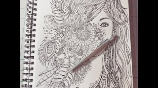 Speed Doodling -  Hidden Face Behind Flowers