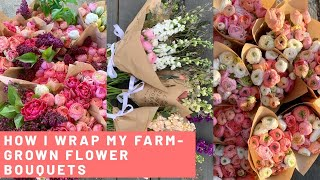 HOW I WRAP BOUQUETS IN PAPER | KRAFT / BROWN PAPER BOUQUET WRAPPING | FLOWER PACKAGING |
