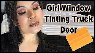 Girl Tinting Installing Precut Window Film Truck Door