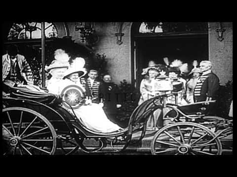 Crown Prince Wilhelm, Kaiser Wilhelm II, Empress Augusta Viktoria, and Crown Prin...HD Stock Footage