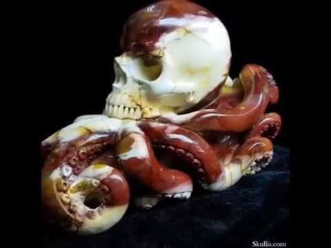 "Remarkable Gemstone 7.8"" Colorful Mookaite Jasper Carved Crystal Skull & Octopus Tentacles Sculpture"