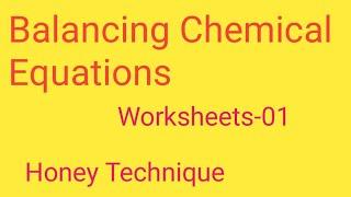 Balancing Chemical Equations Worksheets-01|| Chemical Equations Worksheets  Answers