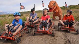 Dinosaur Dune Buggy Chase! T REX!