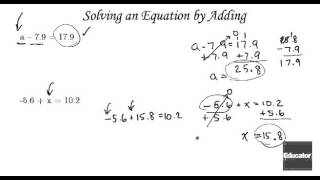 Algebra Tutorial Equations and Applications   Solving Subtraction Equations