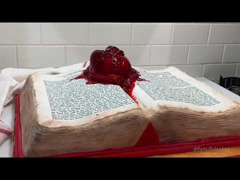 My mom made a Tell Tale Heart book cake with a pumping heart for Valentines Day. All edible!