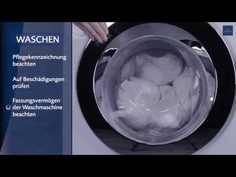 Waschanleitung: Daunendecke richtig waschen und trocknen.