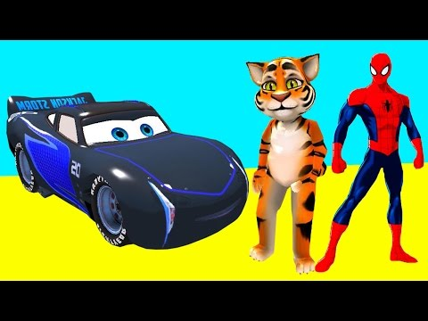 TALKING TOM & Spiderman w/ Disney Сars Lightning McQueen Jackson Storm Cruz Ramirez - Nursery Rhymes