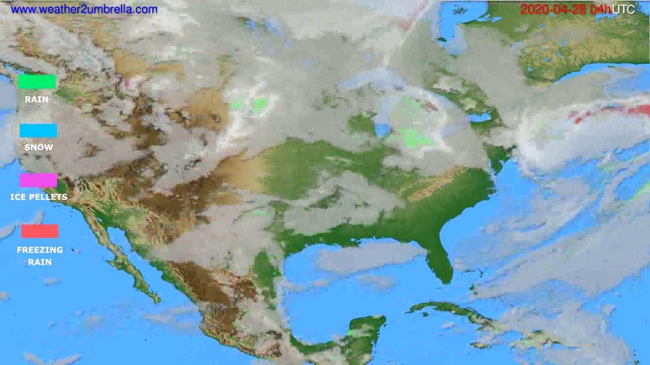 Precipitation forecast USA & Canada // modelrun: 12h UTC 2020-04-27