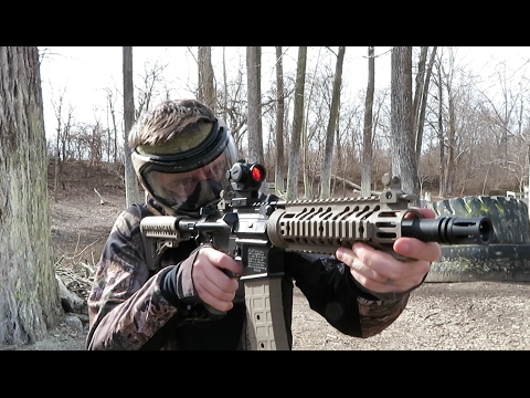 Shooting Tippmann TMC Paintball Gun - Magfed and Hopper