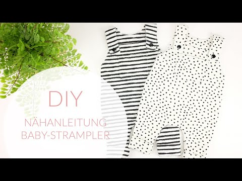 Videoanleitung DIY Baby Strampler nähen / Latzhose Gr.50 mit gratis Schnittmuster / Puppenkleider