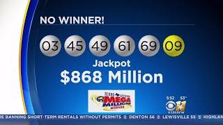 No Winning Mega Millions Ticket; Jackpot Climbs To $868 Million