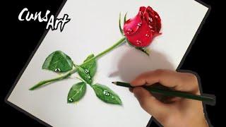 COMO DIBUJAR UNA ROSA REALISTA / How To Draw A Realistic Rose