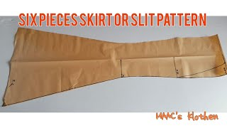 Sewing Tutorials|Lesson 16| How To Draft Six Pieces Skirt | Six Pieces Slit Pattern.