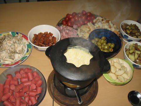 Fondue de queso con diversos acompañamientos