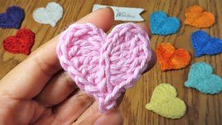Crochet Small Heart Applique Easy