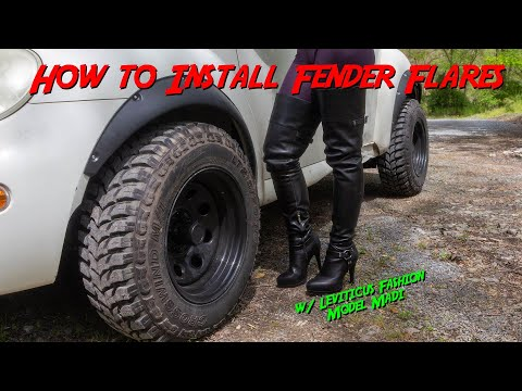 How to install Fender Flares w/ Model Madi Leviticus Fashions Thigh High OTK boots - Models and Cars