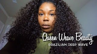 BOMB CURLY HAIR!! | Queen Weave Beauty LTD | Brazilian Deep Wave | Aliexpress