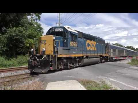 Slow Moving CSX Cargo Trains At Busy Railroad Junction Along With Track Inspection Train 8-23-19