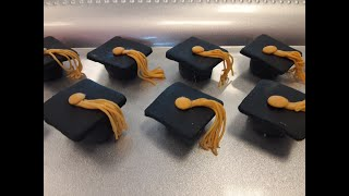 GRADUATION CAP CUPCAKE TOPPERS/Fondant Cupcake Toppers