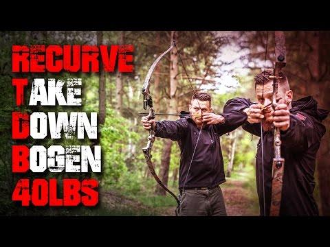 Recurve Take Down Bogen 40 LBS Camo - Review Test Outdoortest trick shot (Deutsch/German)   Fritz