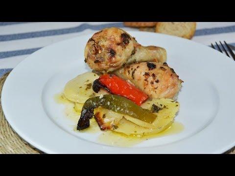 Pollo al Horno con Patatas y Pimientos | Recetas de cocina fáciles