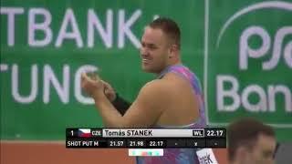 Tomas Stanek 22.17m - Dusseldorf, Germany on February 6, 2018.