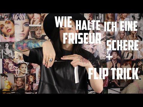 Wie halte ich eine Friseur Schere + Flipp Trick (Deutsch/German)