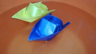 КАК СДЕЛАТЬ КАТЕР ИЗ БУМАГИ  Оригами катер из бумаги QOGOZDAN QATER YASASH