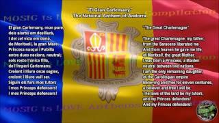 Andorra National Anthem with music, vocal and lyrics Catalan w/English Translation