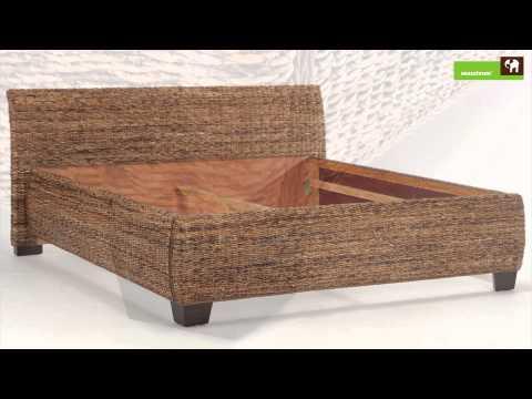 Rattanbett - Bett Barika Bananenblatt in Komforthöhe - Bett 180x200