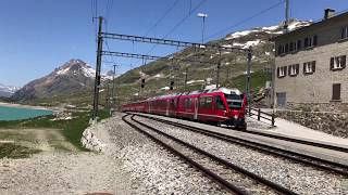 The Bernina Express train to Saint Moritz