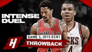 The Game Derrick Rose SHOWED Young Giannis PLAYOFF MODE! Duel Highlights | Game 3, 2015 Playoffs