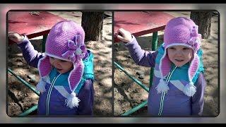 осенняя шапочка крючком на девочку 4х лет, вязание крючком