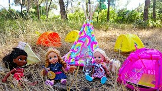 Elsa and Anna toddlers camping adventure