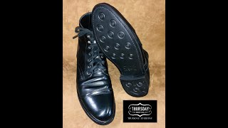 Thursday Boots Captain Black Boots Recrafted With A New Dainite Sole And Heel