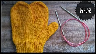 How to knit a mitten gloves with circular needles, step by step tutorial by NGVID.