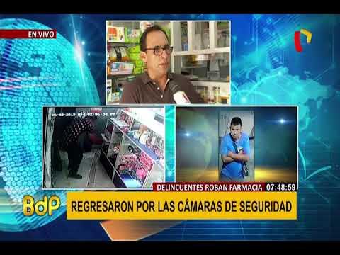 SMP: delincuentes asaltan farmacia y regresan al día siguiente para llevarse cámaras de seguridad